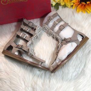 Carlos Santana Taos Beaded Gladiator Sandals 5